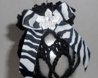 Christmas Ornament, Crochet Ornament, Zebra Ornament, Black Ornament