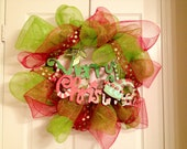 "Whimsical ""Merry Christmas"" Red and Green Deco Mesh Wreath"