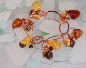 Amber Cluster Copper Bracelet