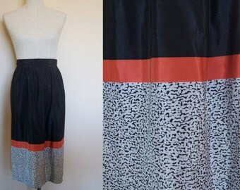 vintage black skirt // coral skirt // vintage midi skirt