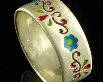 4 Flowers Ring , silver ring,Recycled silver, Wedding Band, Woman Wedding Band, JEWELS OF JOY