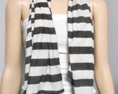 Dark Gray & CREAM Striped Neck Scarf  Jersey Knit