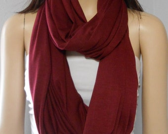 Burgundy  Wine Infinity Scarf SUPER SOFT Jersey  Knit