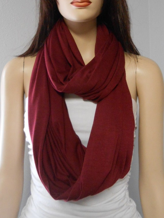 Maroon infinity scarf - I have many different colored hand made ruffle infinity scarves. MY PRICES ARE NEGOTIABLE! This scarf is maroon with silver seams. This scarf is very thick, making it perfect for the fall and winter seasons! This scarf will definitely keep you warm! One of my favorites!
