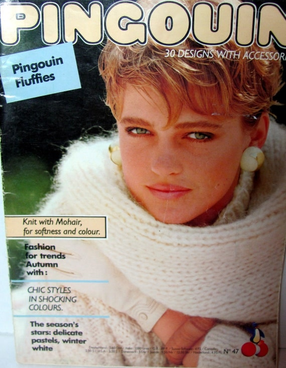 Pingouin Knitting Patterns Number 47 - Pingouin Fluffies -Knits with Mohair - Delicate Pastels Winter White