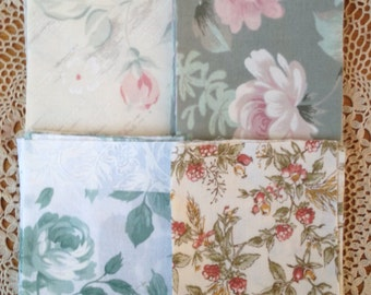 """Vintage Fabric Squares  supplies, Patchwork Squares 4""""x4"""" great for crafts"""