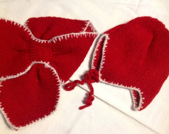 Beautiful hand knitted set of cap and scarf for children