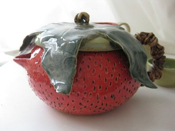 Handmade Ceramic Strawberry Teapot and Teacup Set