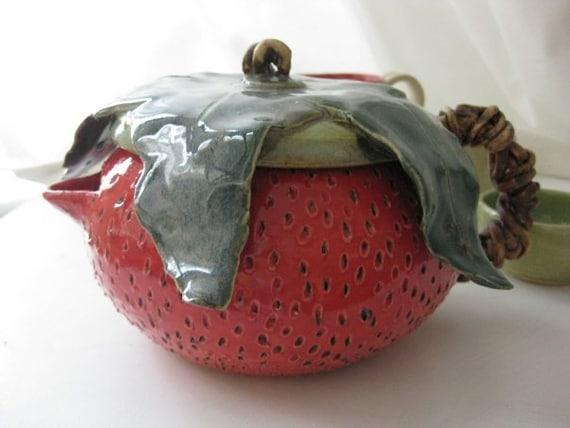 Handmade Ceramic Strawberry Teapot and Teacup Set