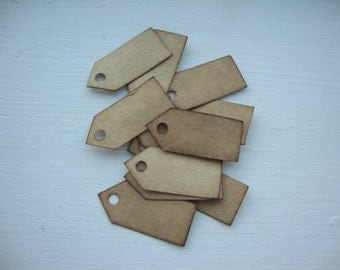 "25 Stained Jewelry Tags, Unstrung, 1 3/16"" x 1/2"", Vintage Jewelry Tags"