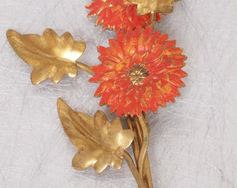 Vintage 1930s Chrysanthemum Metal Brooch Pin UK