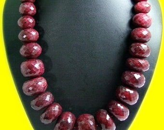 Ruby Faceted Beads Necklace ( Bold Size )