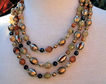 3 three triple strand necklace