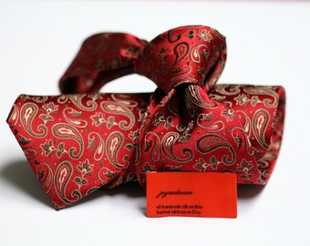 Silk Tie in Paisleys with Red and Golden Brown