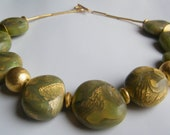 Jade and gold Mokume Nendo statement necklace polymer clay