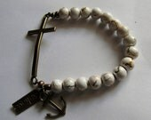 White Antique Bronze Cross Bracelet With Charms