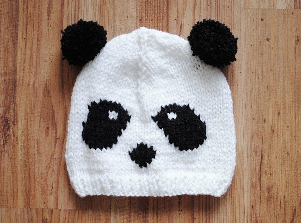 Knitting Pattern For Panda Hat : white panda hat panda beanie oversize slouchy knitted hat