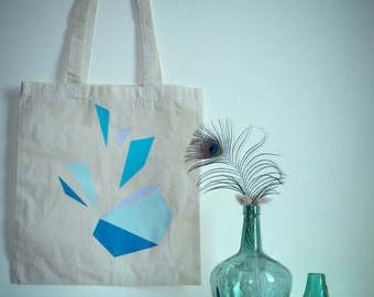 Tote bag blue triangles cotton