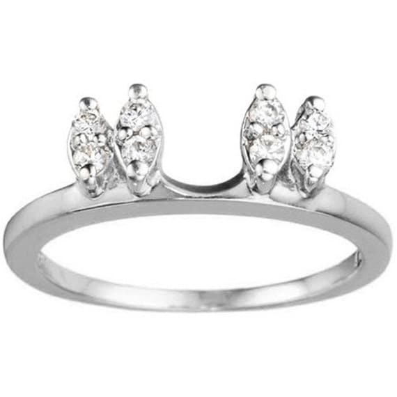 three stone marquise shaped wedding ring wrap sterling silver with cubic zirconia 16ct - Wedding Ring Wraps