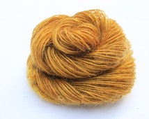 Handspun Singles, Combed Kid Mohair and Wensleydale, Hand Dyed in shades of Gold