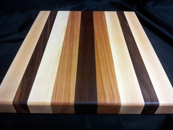 Butcher Block Cutting Board Edge Grain Walnut Cherry