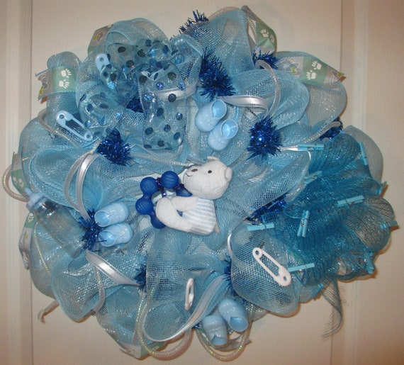 Items Similar To Baby Boy Blue Deco Mesh Wreath Perfect