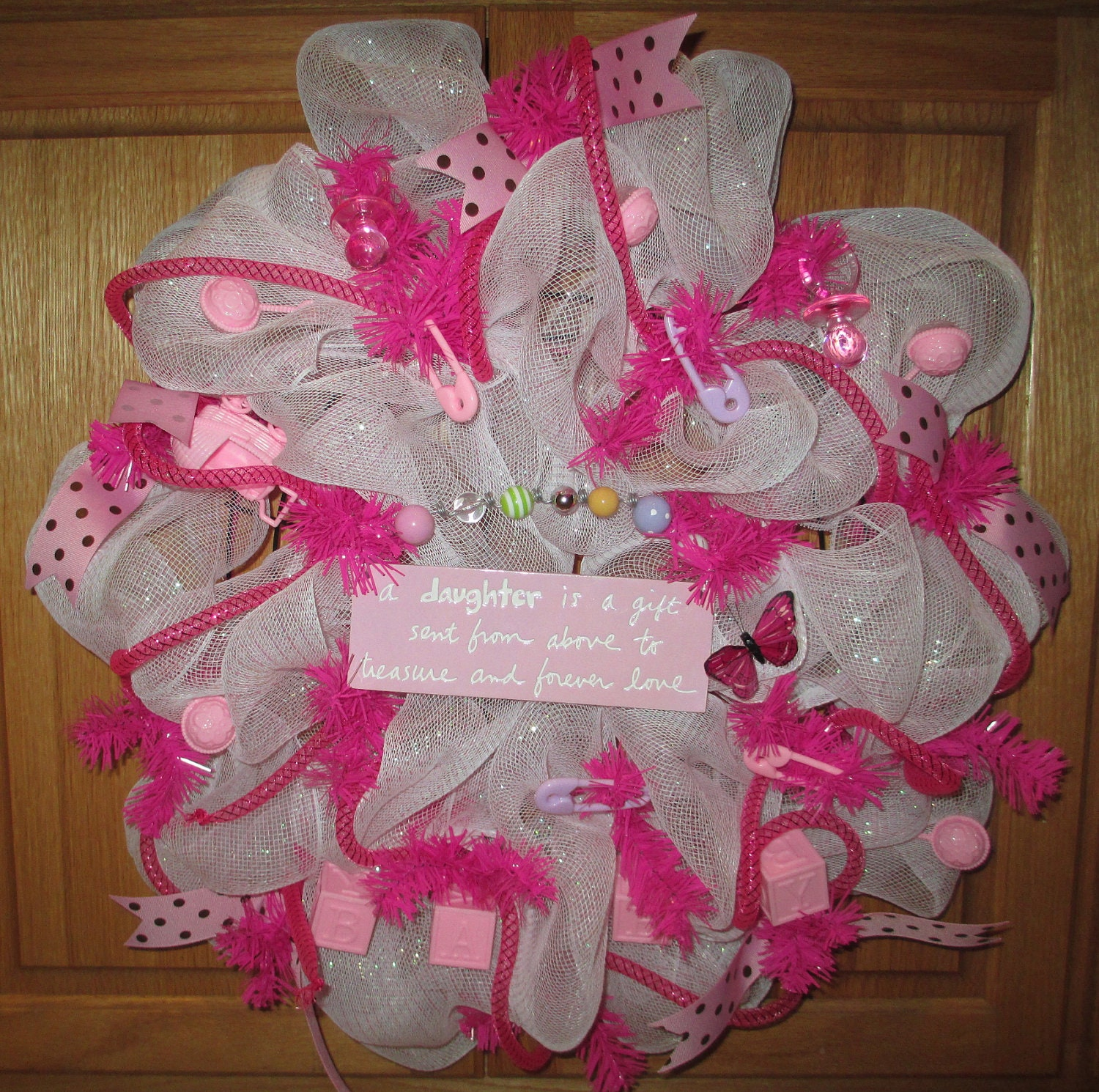 Baby Shower Wreath Instructions: Pink Baby Deco Mesh Wreath Perfect For Baby Shower Hospital