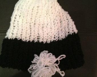 Children's black and white knit hat