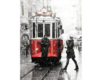 SALE, Winter photography, Tram photography, istanbul photograph, Snow Photograph, Gift ideas,  istanbul, Landscape, colour