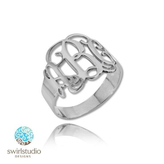 monogram ring in sterling silver 925 by swirlstudiodesigns