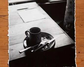 B&W Still Life 6x6 inch giclee fine art photography print with torn edge