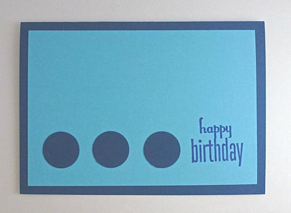 Items similar to light and dark blue plain happy birthday card items similar to light and dark blue plain happy birthday card with three circles on etsy m4hsunfo