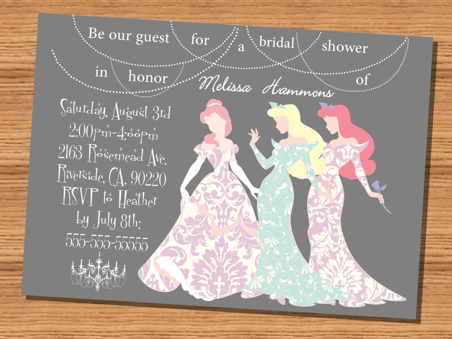 Princess wedding shower invitation Disney by NhelyDesigns on Etsy : Disney Princess Baby Shower Invitations Templates For Kids