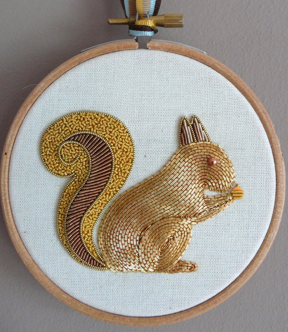 Metalwork embroidery squirrel kit