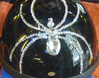 Elegant Swarovski Austrian Crystal Jewelled Spider  Motorcycle Helmet