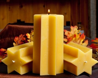 Star Pillar Beeswax Candle