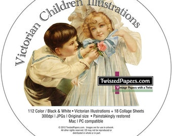 112 Victorian Children Scrap and Trading Card Illustrations on CD PLUS 18 Collage Sheets