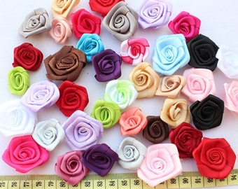 set of 35 pcs Beautiful handmade satin rose rosette flower mixed colors 3cm-3.6 cm-BY0052