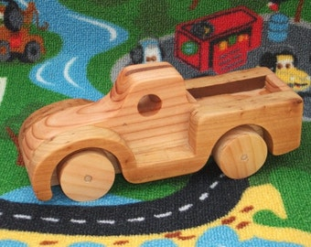 Beautiful, handmade, high quality large wooden toy pickup truck.