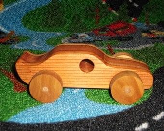 Handmade wooden 2-tone toy racecar