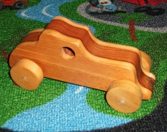 Handmade wooden 2-tone toy car (roadster)