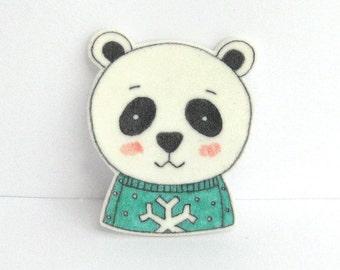 Bear with Sweater Brooch. Panda Bear Pin