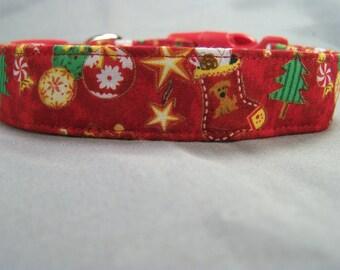 Red Christmas Traditions Dog Collar