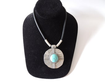 Necklace on a cord  W/Turquoise Pendant
