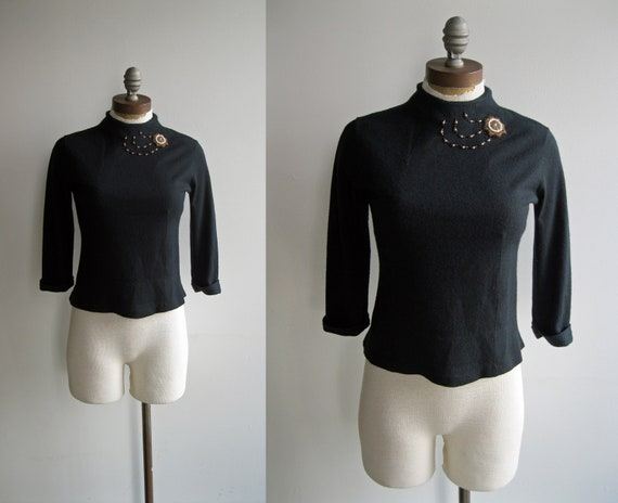 1940s Cropped Black Turtleneck Sweater with Beaded Starburst Shooting Star Design and Cuffed Sleeves