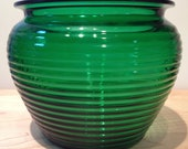 National Potteries Glass Division  ribbed green glass container