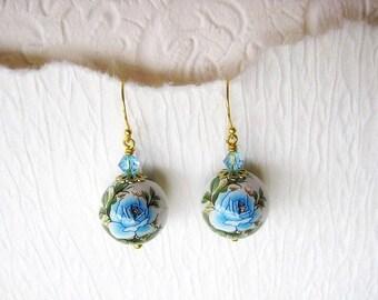Lovely Japanese Tensha bead earrings