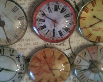 Clock Magnet Set - Glass Magnet - Set of 6 - 1 inch