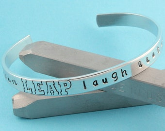 SALE - Live Learn Leap Laugh Listen Love Hand Stamped Cuff Bracelet