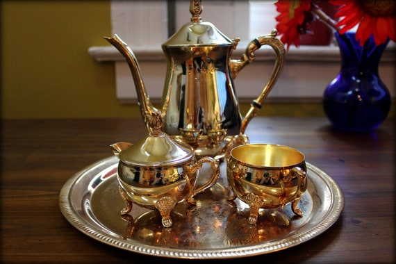 Vintage Gold Teapot Set With Gold Sugar Bowl And Creamer & Gold Serving Tray
